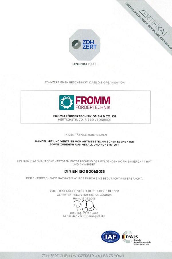 DIN EN ISO 9001 Zertifikat 2020 der Fromm Fördertechnik GmbH & Co. KG