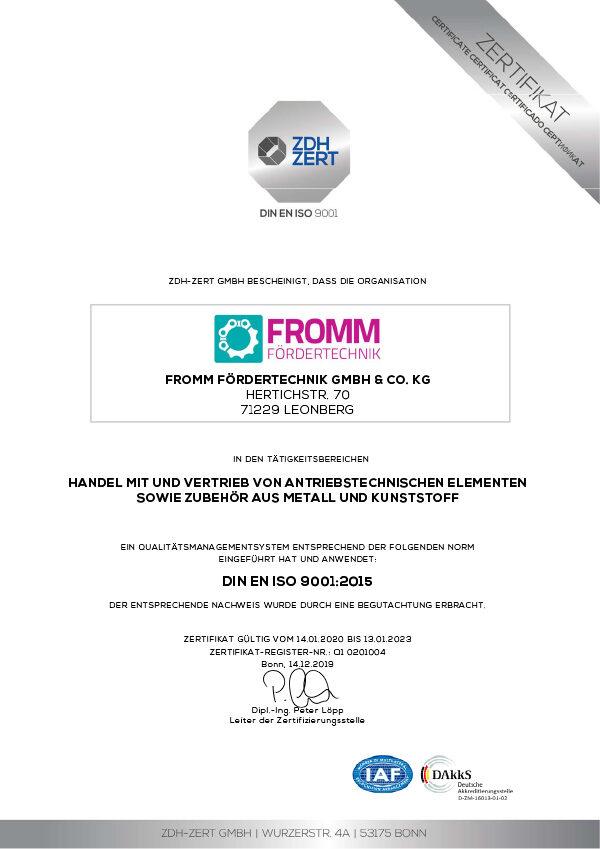 DIN EN ISO 9001 Zertifikat 2023 der Fromm Fördertechnik GmbH & Co. KG